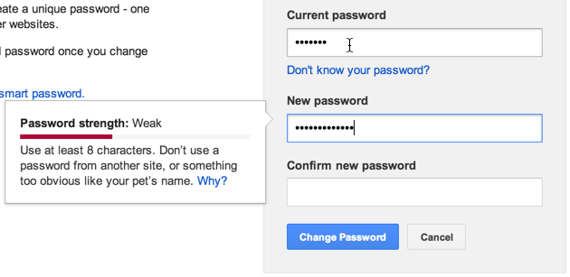 Google password change